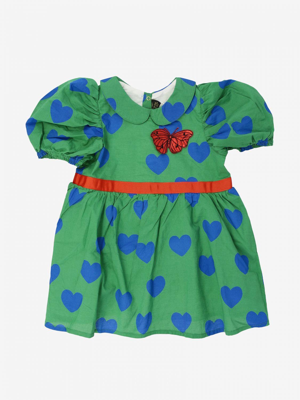 Abito Mini Rodini con cuori all over e farfalla verde 1