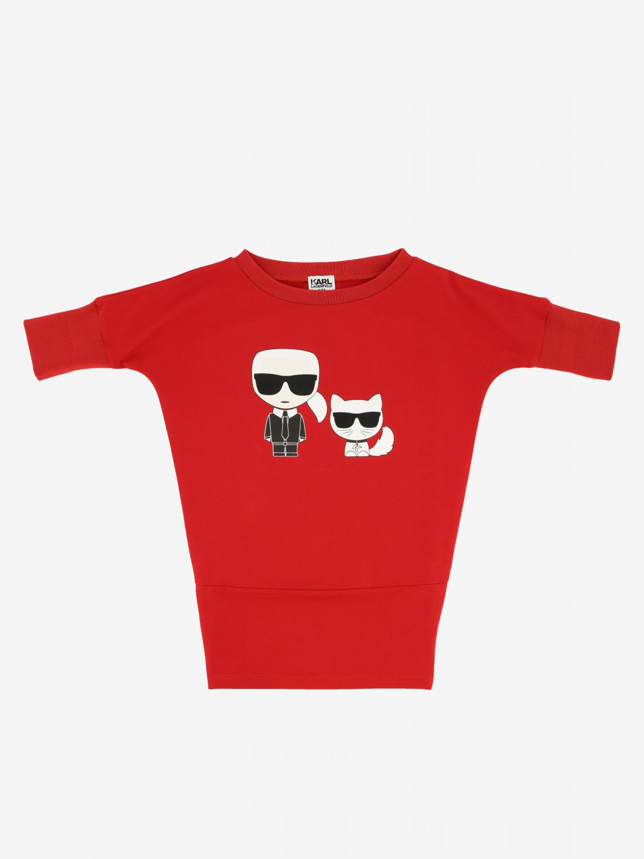 Karl Lagerfeld Kleid mit Katzen Print rot 1