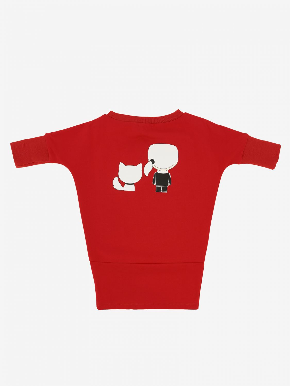 Karl Lagerfeld Kleid mit Katzen Print rot 2
