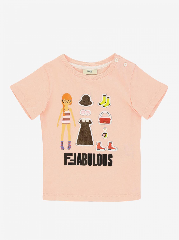 Fendi 印花短袖T恤 粉色 1