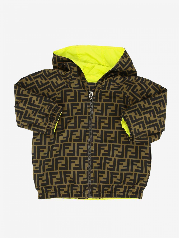 Fendi reversible nylon jacket with FF monogram lemon 3