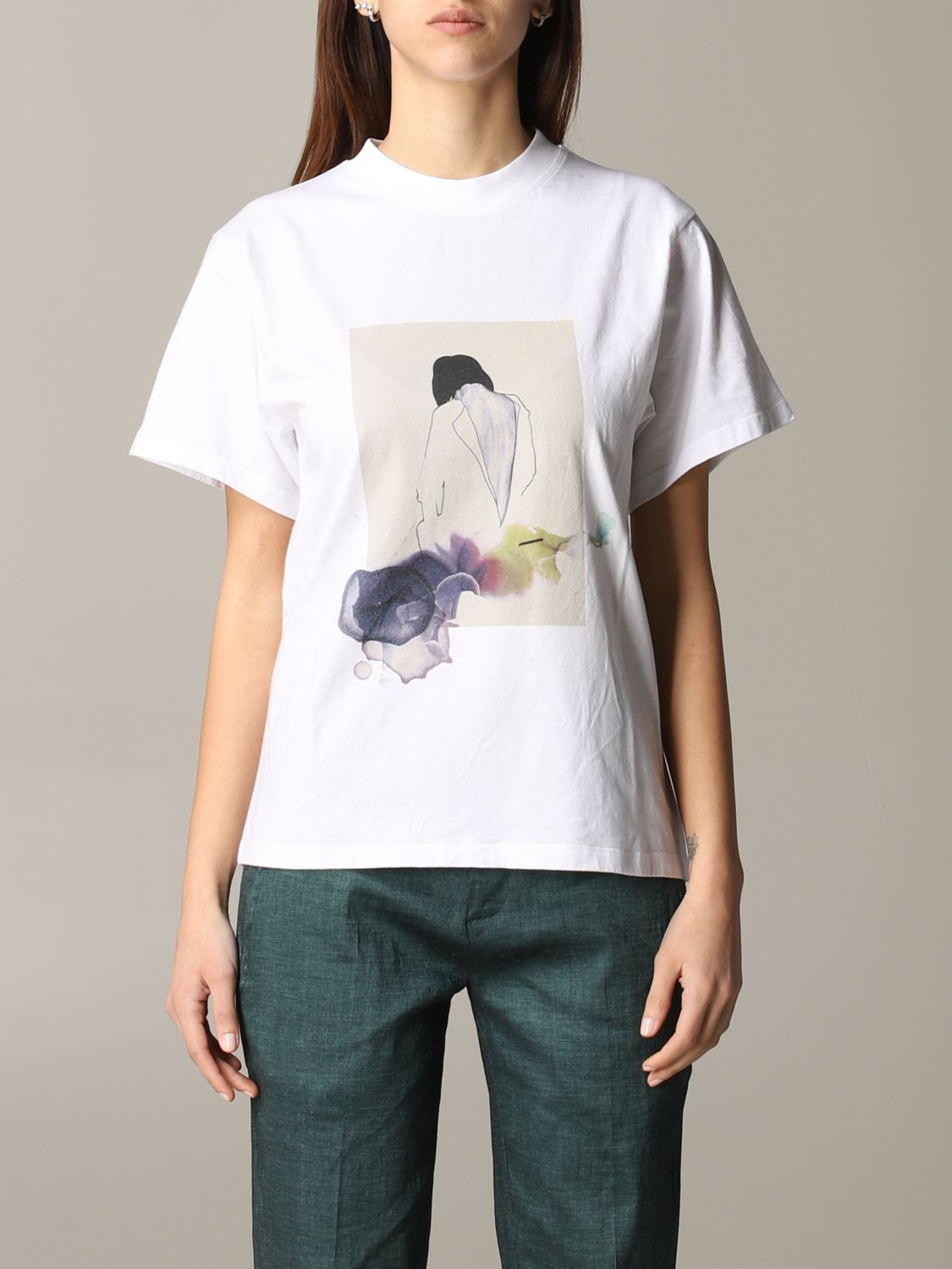 T-shirt Tela con stampa frontale bianco 1