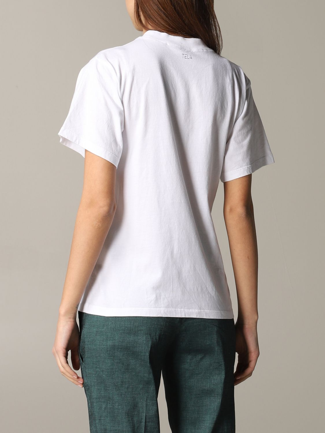 T-shirt Tela con stampa frontale bianco 3