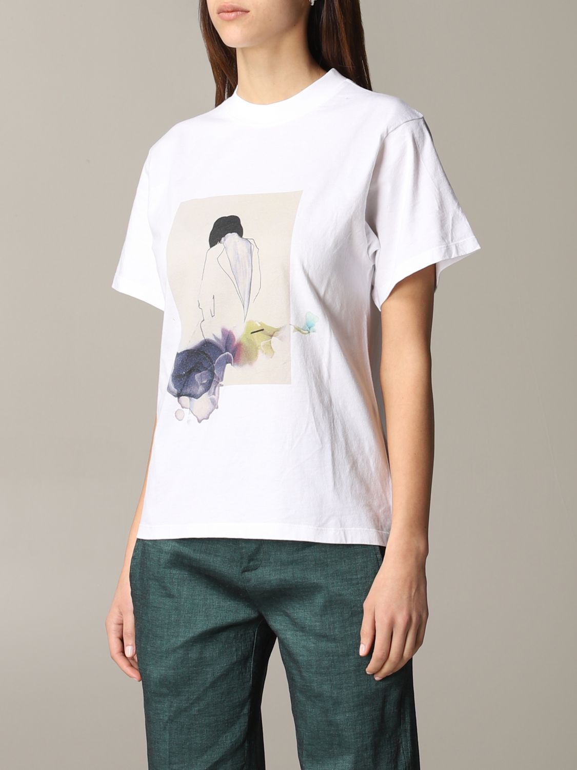 T-shirt Tela con stampa frontale bianco 4