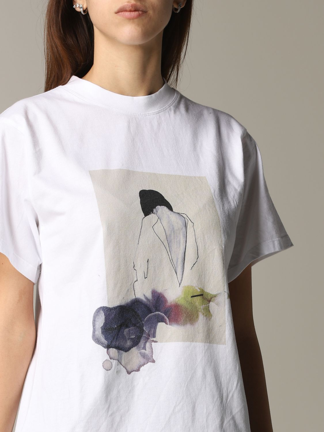 T-shirt Tela con stampa frontale bianco 5