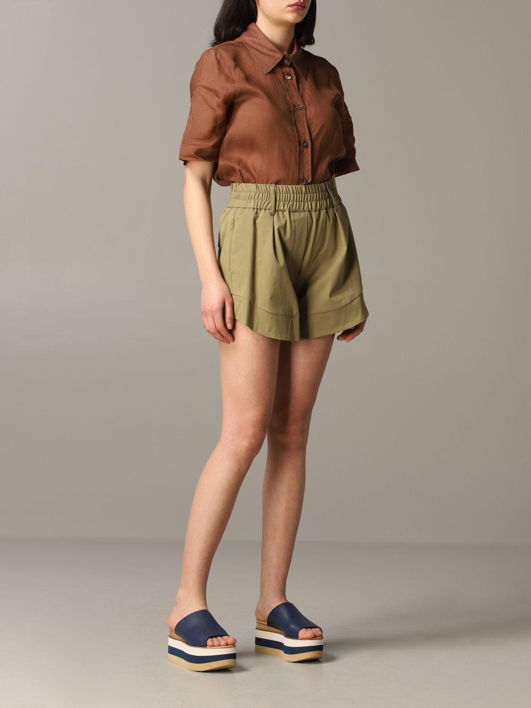 Pantalones Cortos Mujer Tela Pantalones Cortos Tela Mujer Verde Pantalones Cortos Tela Drucciolo Giglio Es