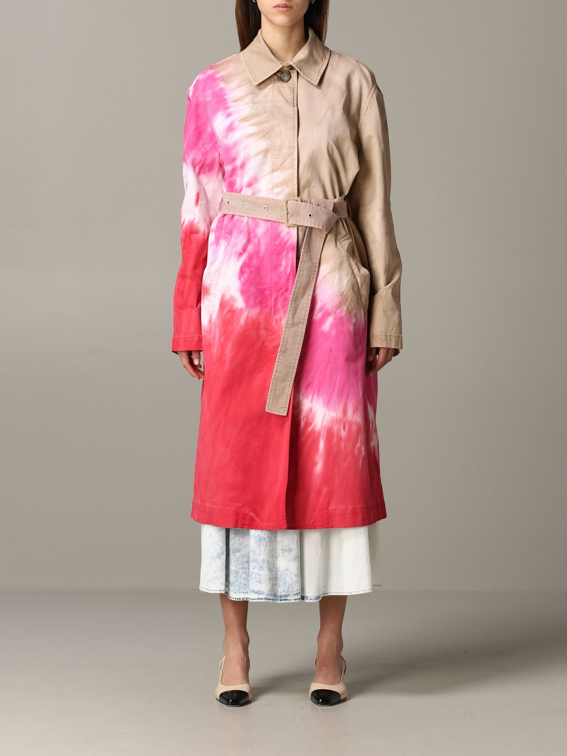 Msgm printed coat with belt white 1