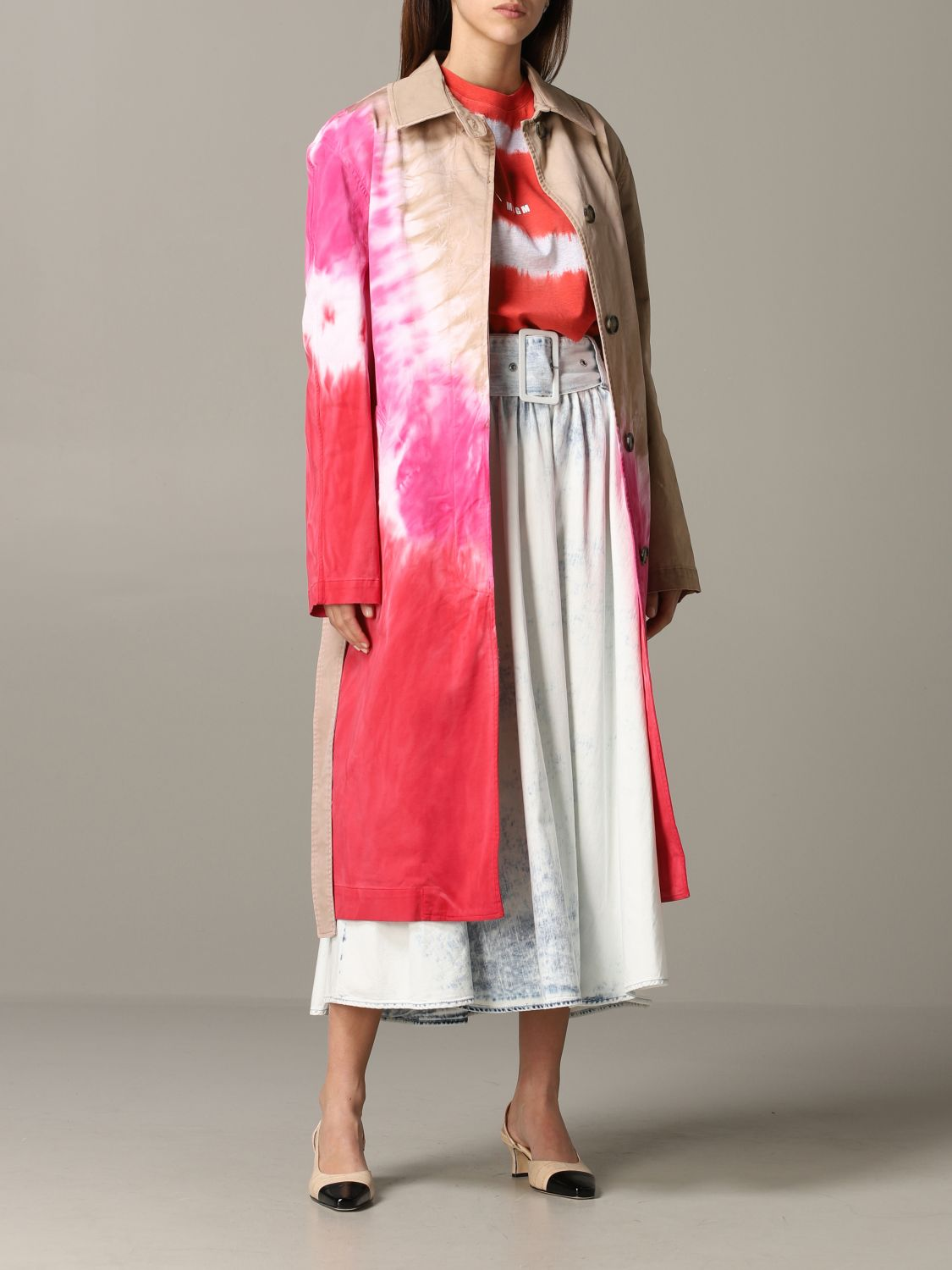 Msgm printed coat with belt white 2