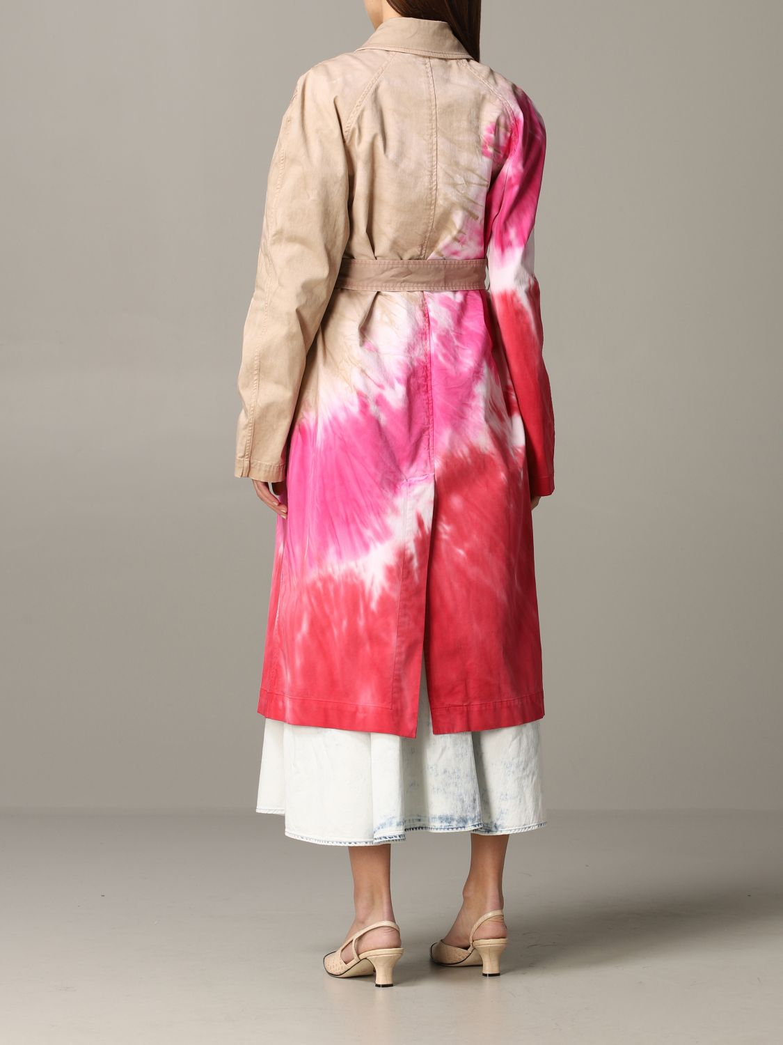 Msgm printed coat with belt white 3