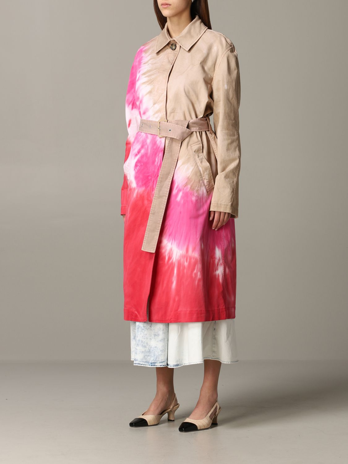 Msgm printed coat with belt white 4