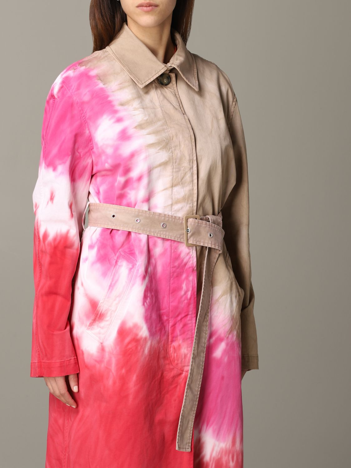 Msgm printed coat with belt white 5