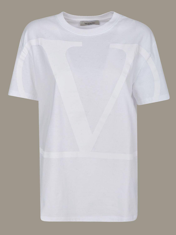 Valentino T-Shirt mit VLogo Print weiß 1