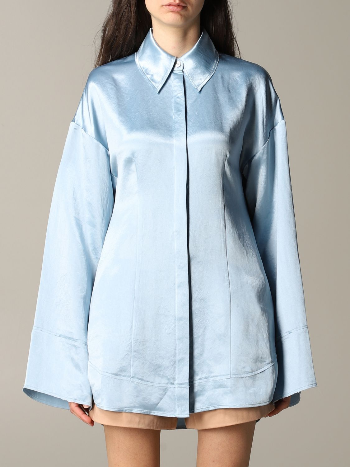 Shirt Acne Studios: Acne Studios wide shirt gnawed blue 1