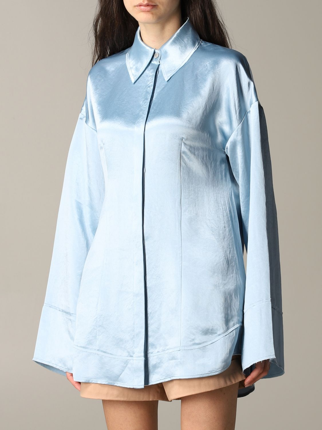 Shirt Acne Studios: Acne Studios wide shirt gnawed blue 4