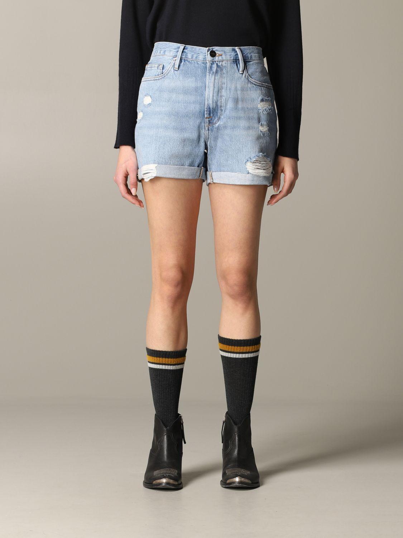 Pantaloncino di jeans Frame con rotture blue 1