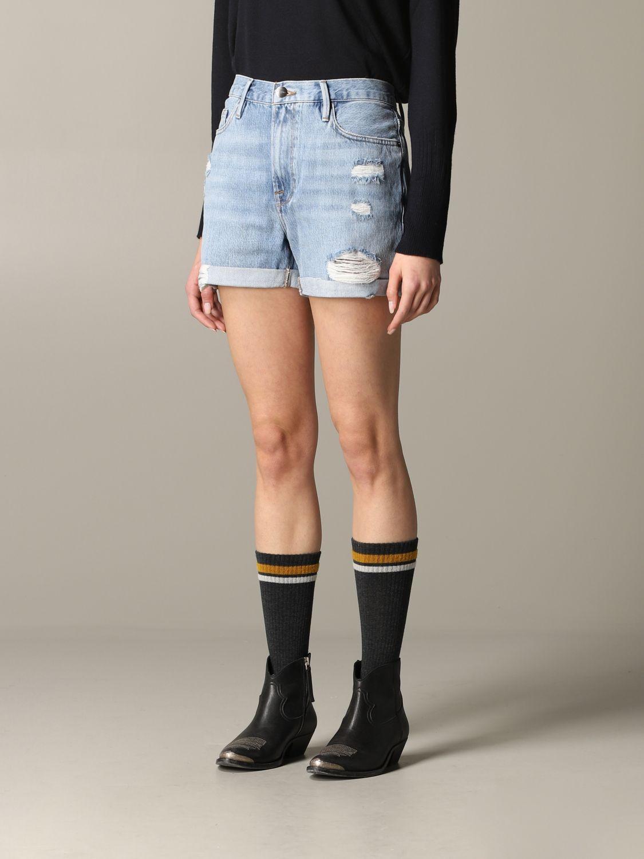 Pantaloncino di jeans Frame con rotture blue 4