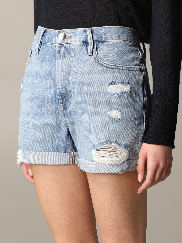 Pantaloncino di jeans Frame con rotture blue 5