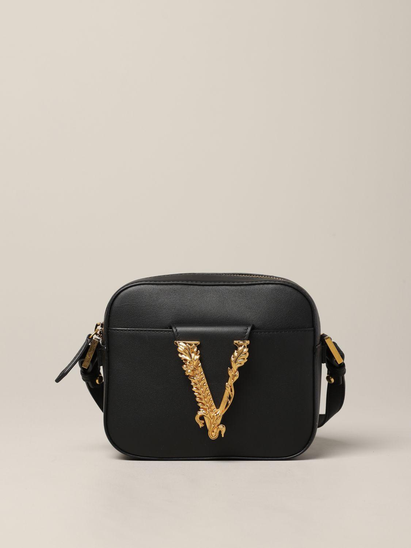 Versace Leder Umhängetasche mit V Virtus schwarz 1