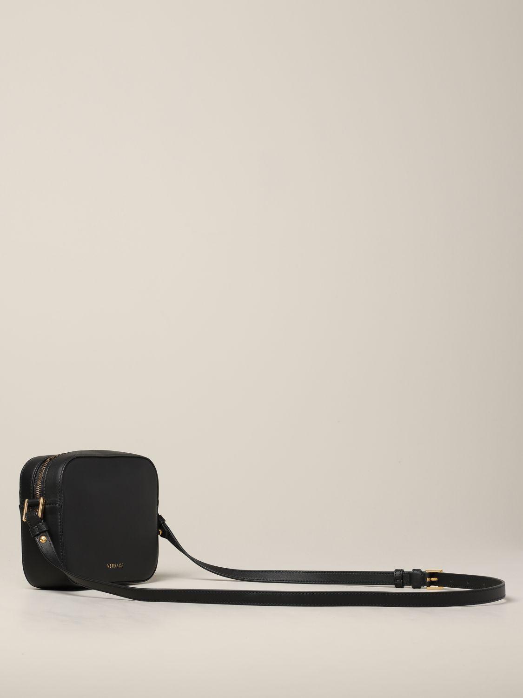 Versace Leder Umhängetasche mit V Virtus schwarz 3