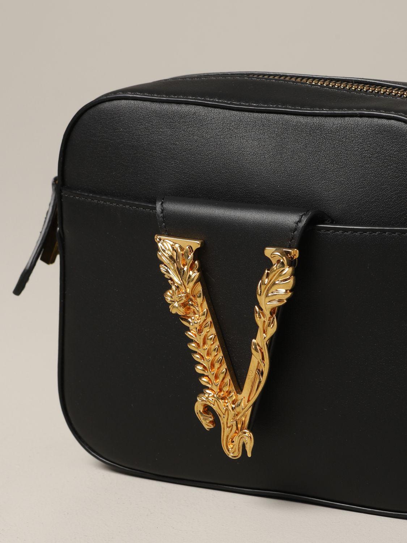 Versace Leder Umhängetasche mit V Virtus schwarz 4