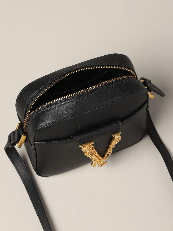 Versace Leder Umhängetasche mit V Virtus schwarz 5