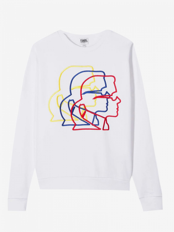 Maglia Karl Lagerfeld Kids: Felpa Karl Lagerfeld Kids a girocollo con Karl bianco 1