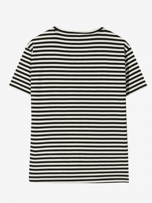 T-shirt Dondup: T-shirt Dondup a righe con stampa logo blue 2