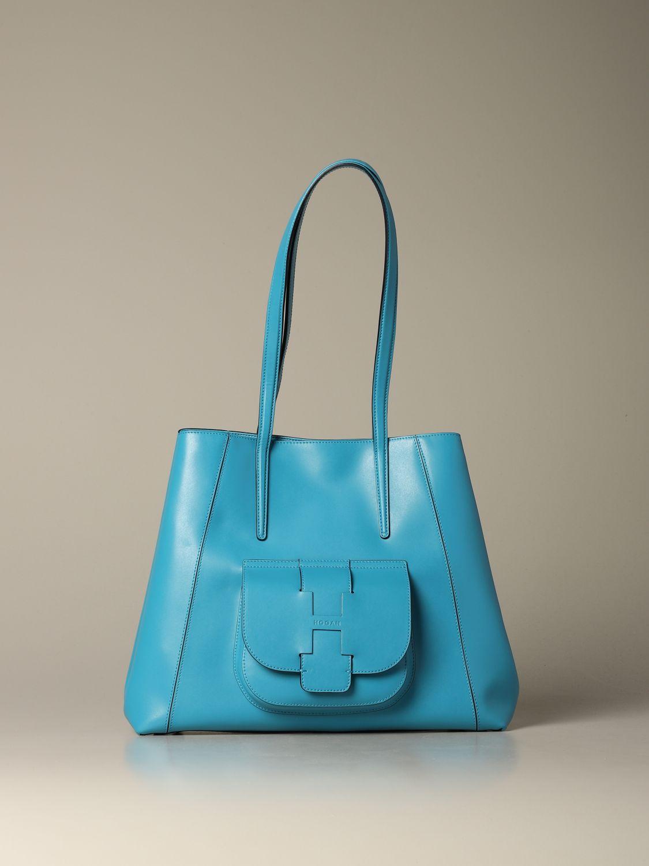 Hogan shoulder bag in bicolor leather with logo gnawed blue 1