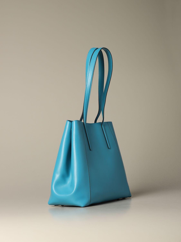 Hogan shoulder bag in bicolor leather with logo gnawed blue 2