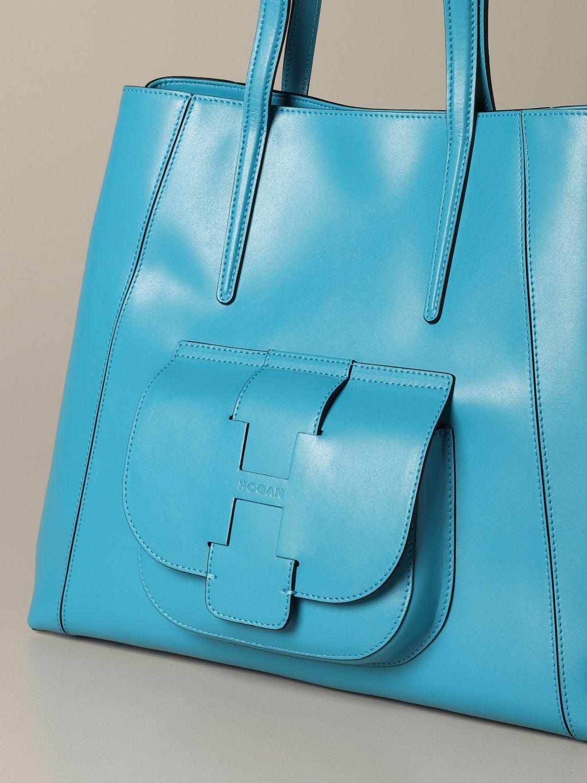 Hogan shoulder bag in bicolor leather with logo gnawed blue 3
