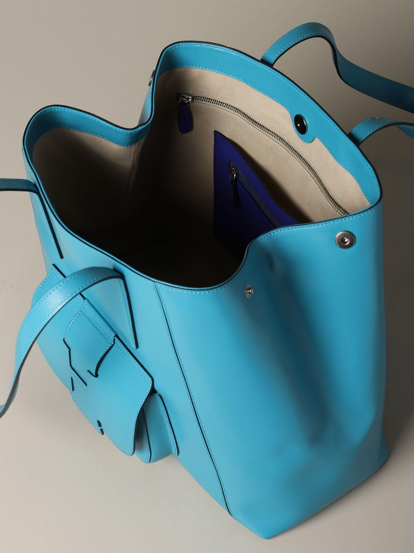 Hogan shoulder bag in bicolor leather with logo gnawed blue 4