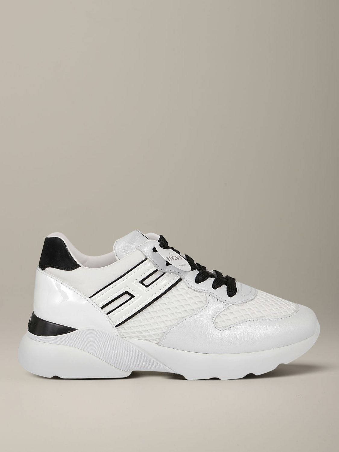 Hogan sneakers in leather and mesh with elongated H white 1