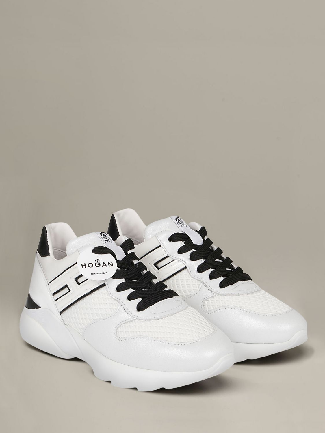 Hogan sneakers in leather and mesh with elongated H white 2