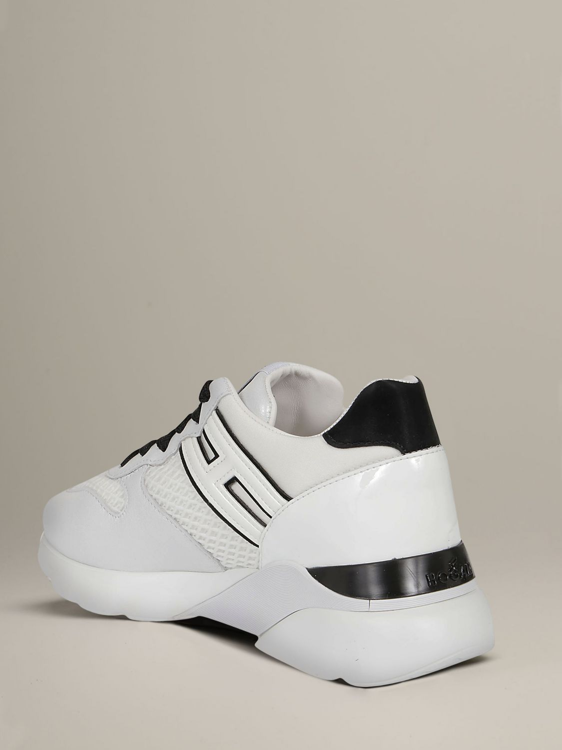 Hogan sneakers in leather and mesh with elongated H white 4