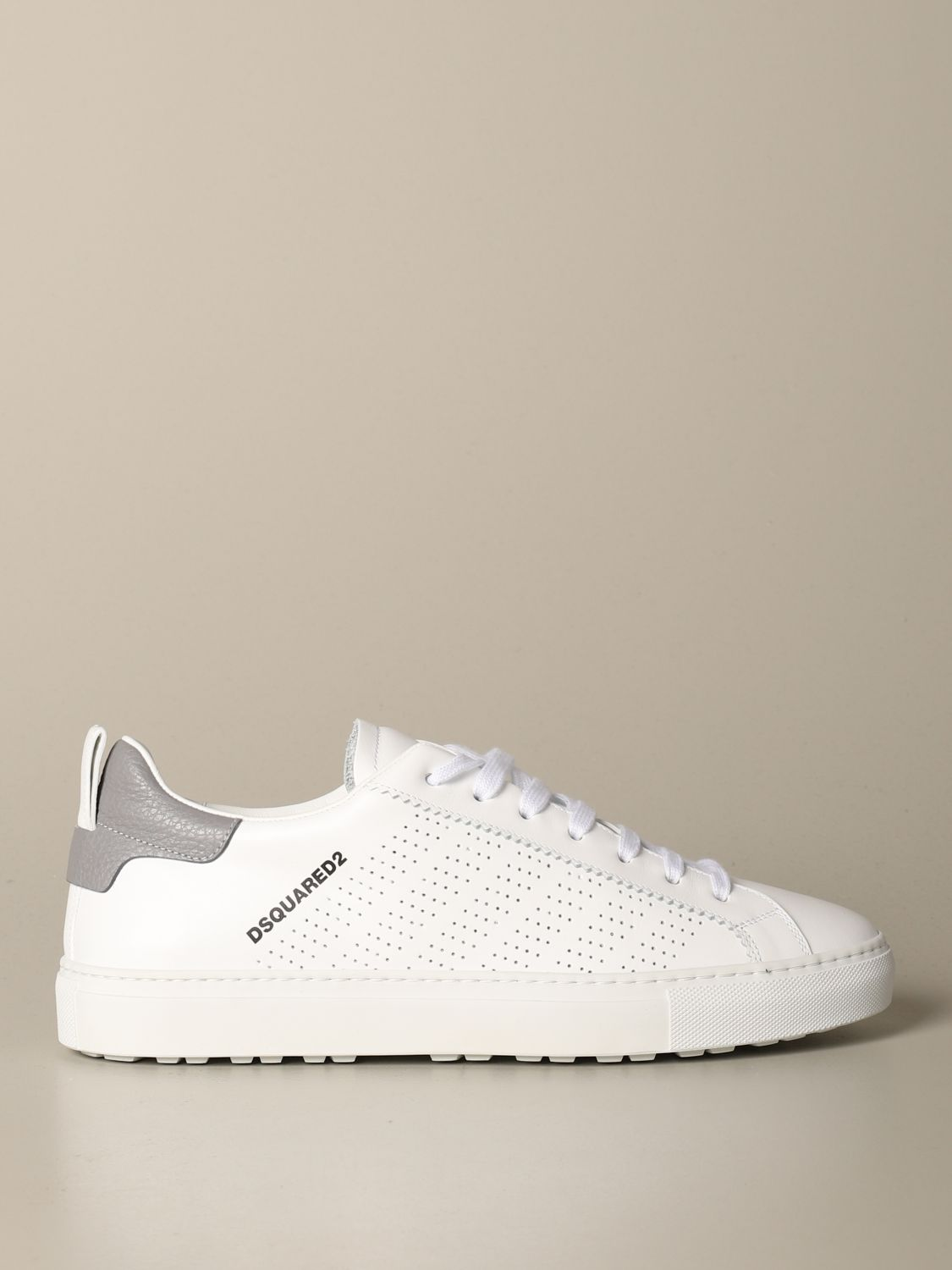 Sneakers Dsquared2: Dsquared2 leather sneakers with micro holes white 1
