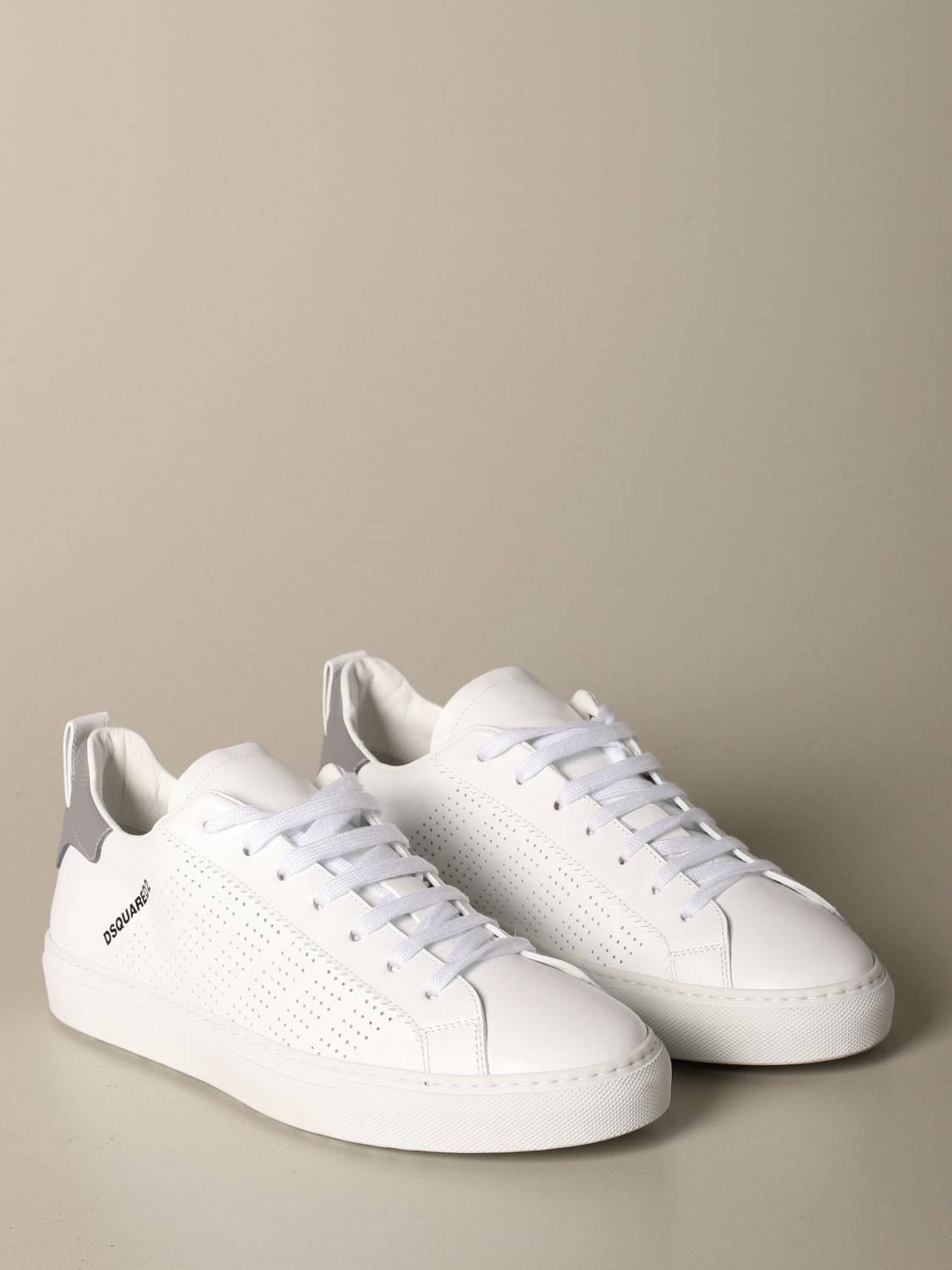 Sneakers Dsquared2: Dsquared2 leather sneakers with micro holes white 2