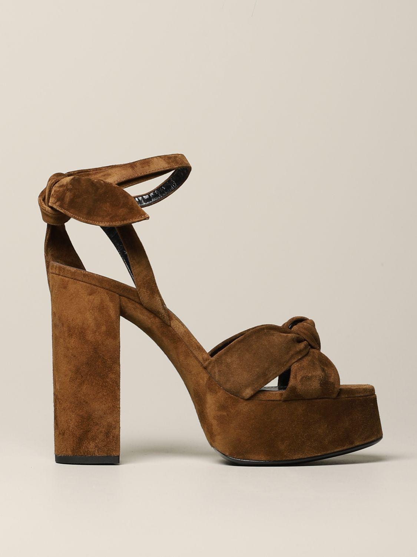 Saint Laurent 绒面革凉鞋 棕色 1