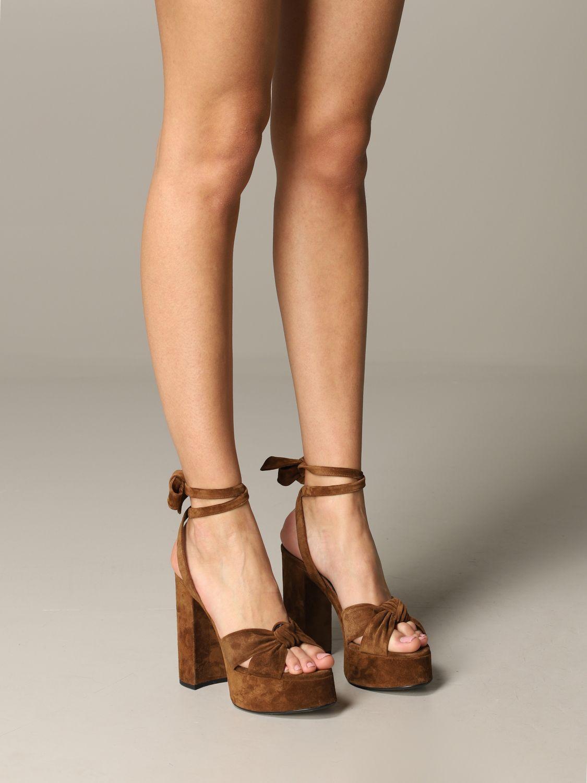 Saint Laurent 绒面革凉鞋 棕色 2