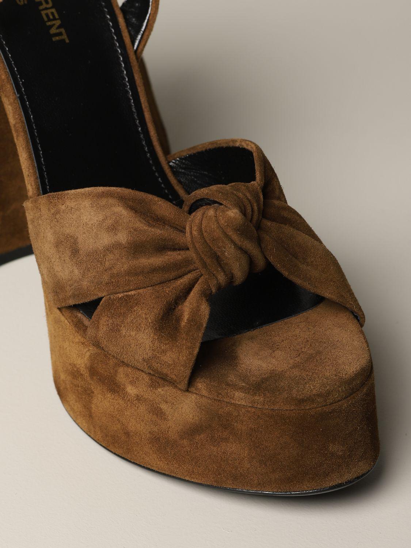 Saint Laurent 绒面革凉鞋 棕色 3