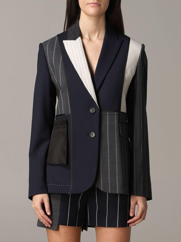 Monse single-breasted patchwork jacket blue 1