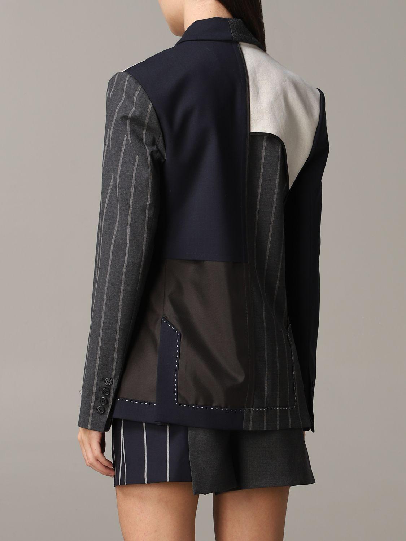 Monse single-breasted patchwork jacket blue 3