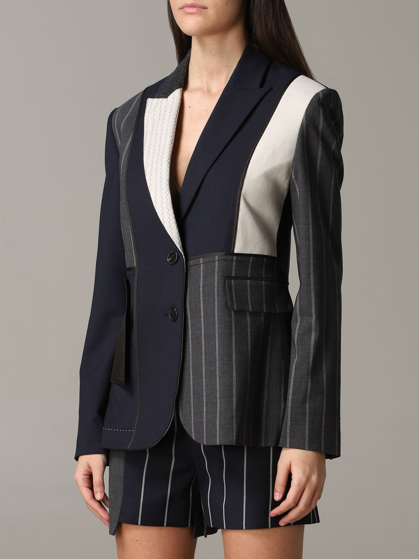 Monse single-breasted patchwork jacket blue 4