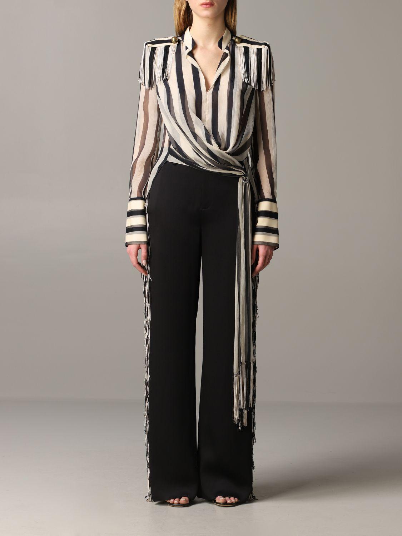 Monse striped shirt with fringes black 1