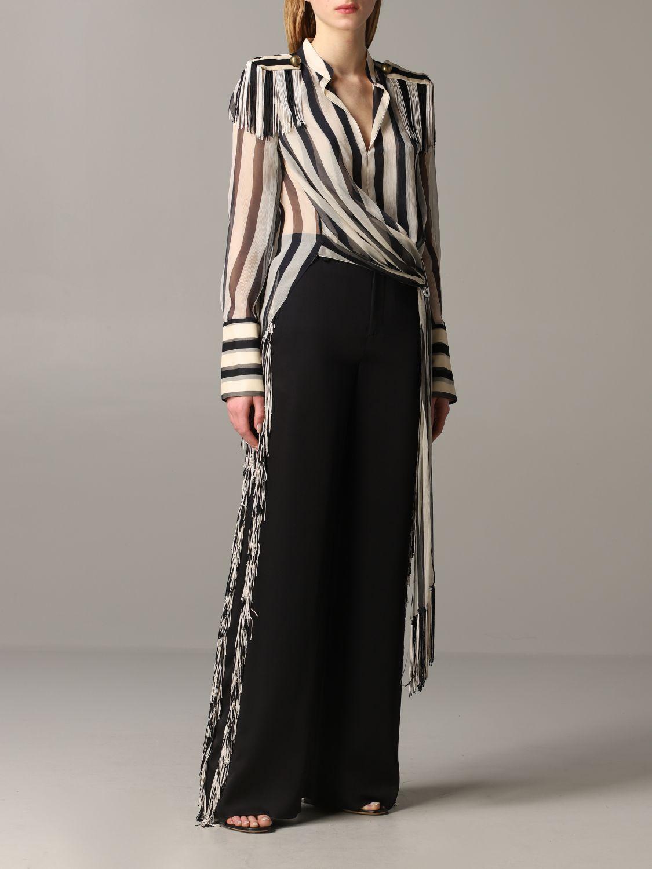 Monse striped shirt with fringes black 2