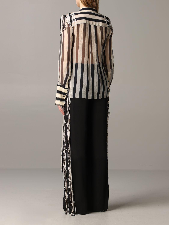 Monse striped shirt with fringes black 3