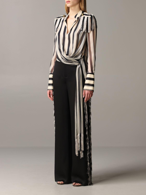 Monse striped shirt with fringes black 4
