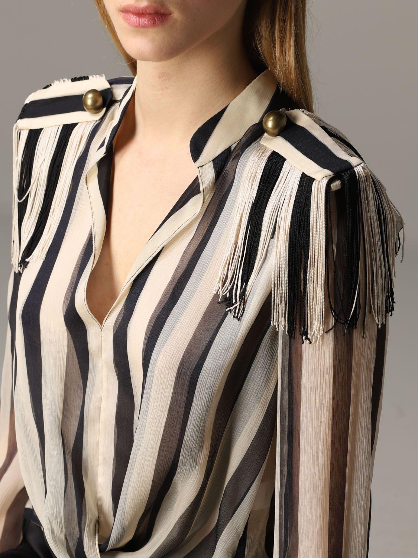 Monse striped shirt with fringes black 5