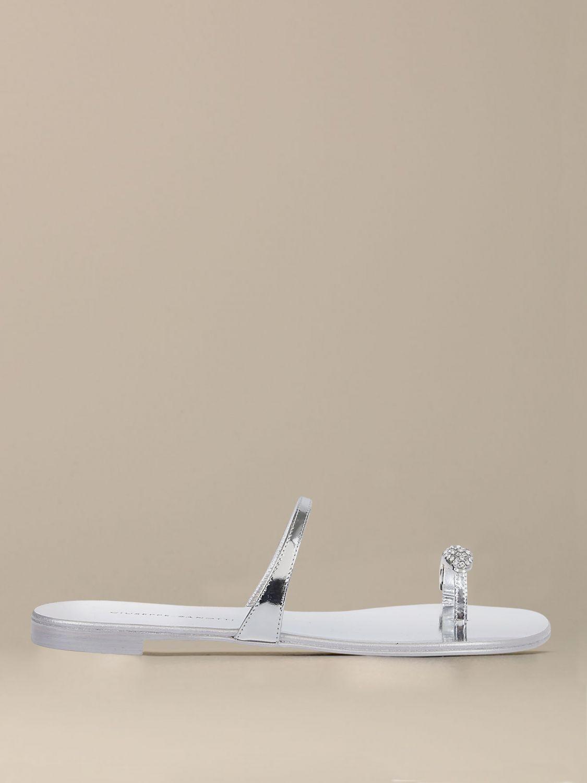 Обувь без каблука Женское Giuseppe Zanotti Design серебряный 1