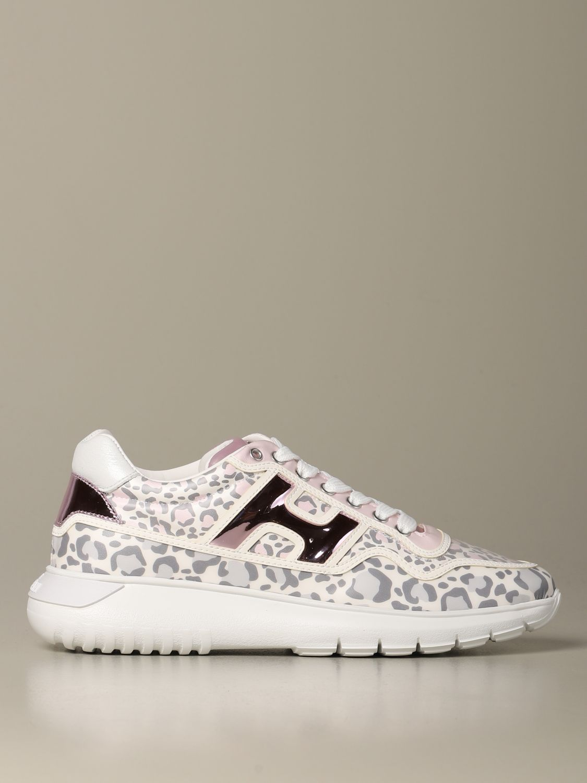 Sneakers H371 Interactive3 Hogan in pelle stampa leopardata rosa 1