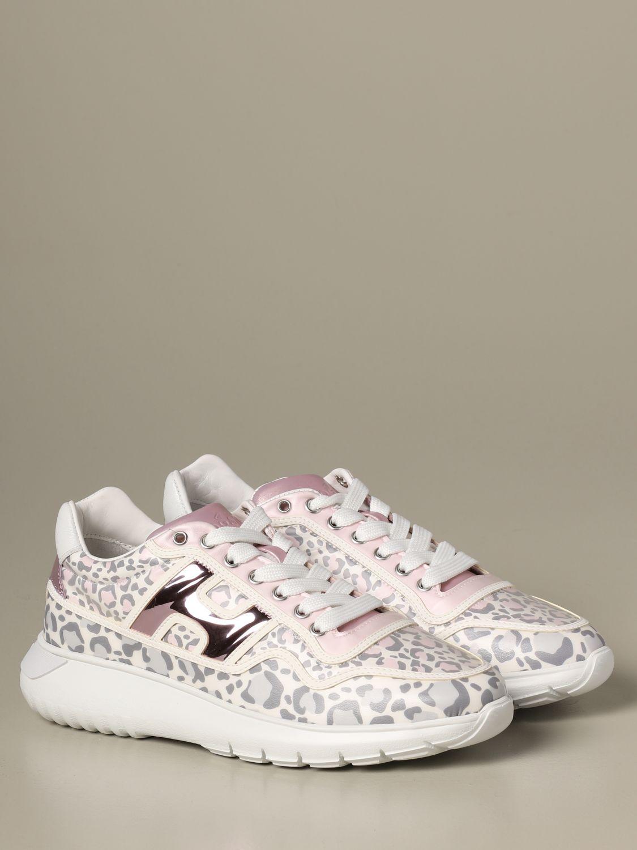Sneakers H371 Interactive3 Hogan in pelle stampa leopardata rosa 2